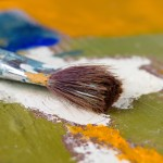 Artist paint brush and palette